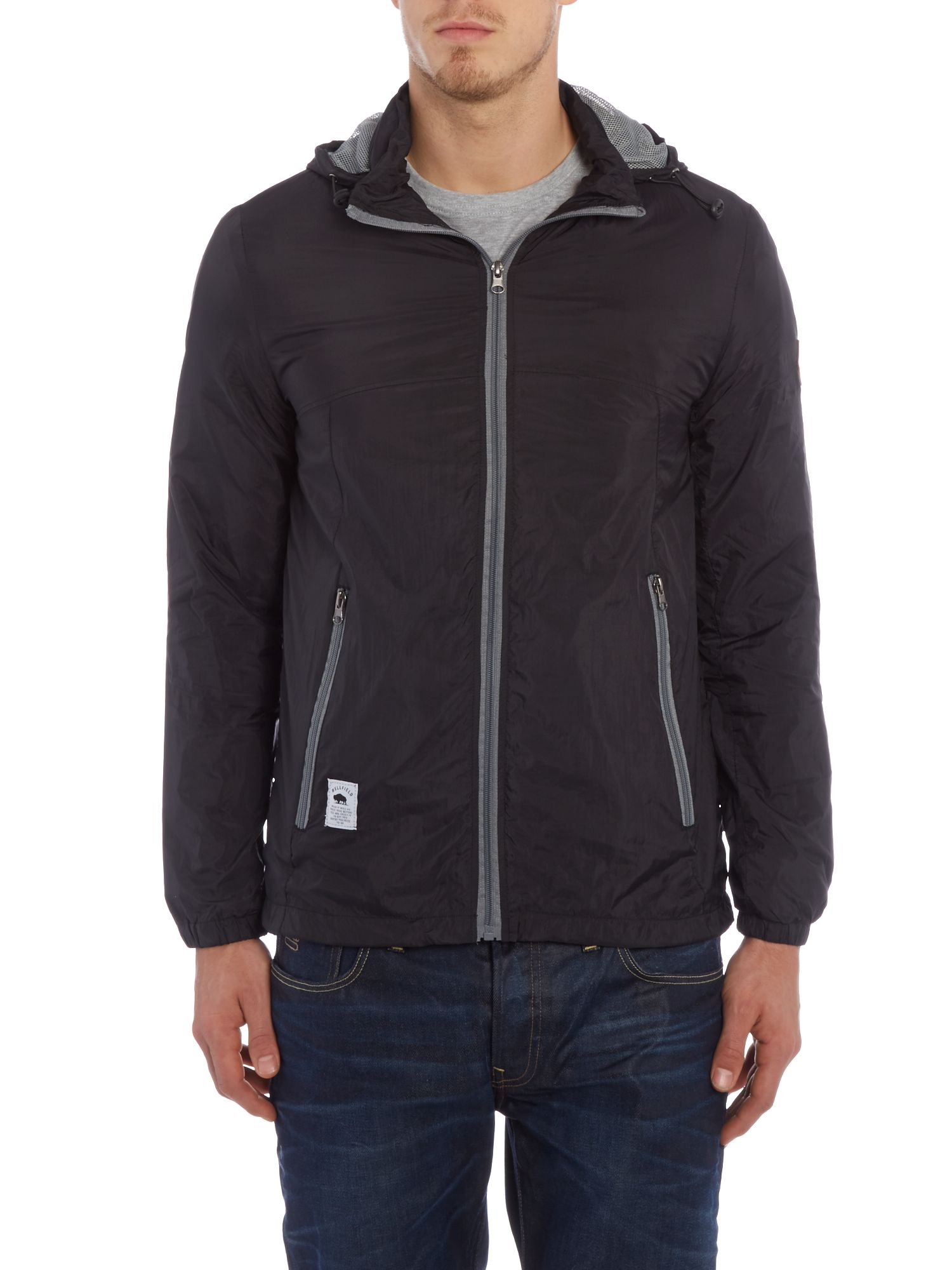 Nylon zip up hooded jacket