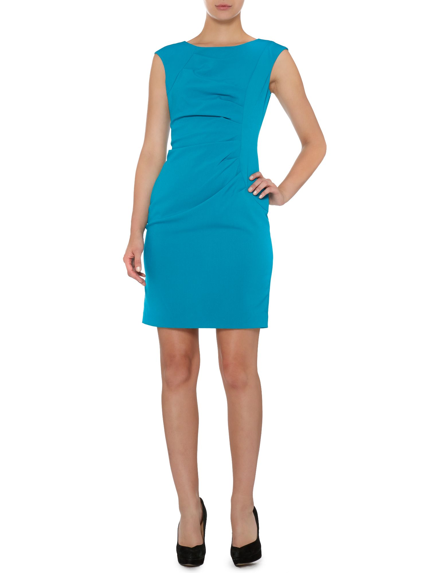 Shift dress with ruched side