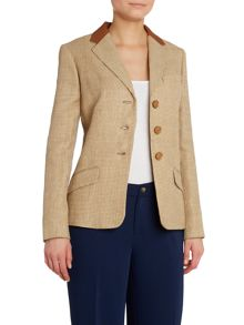 3 button blazer with leather collar