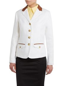 Linen jacket with leather trim