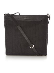 Jaquard black cross body bag