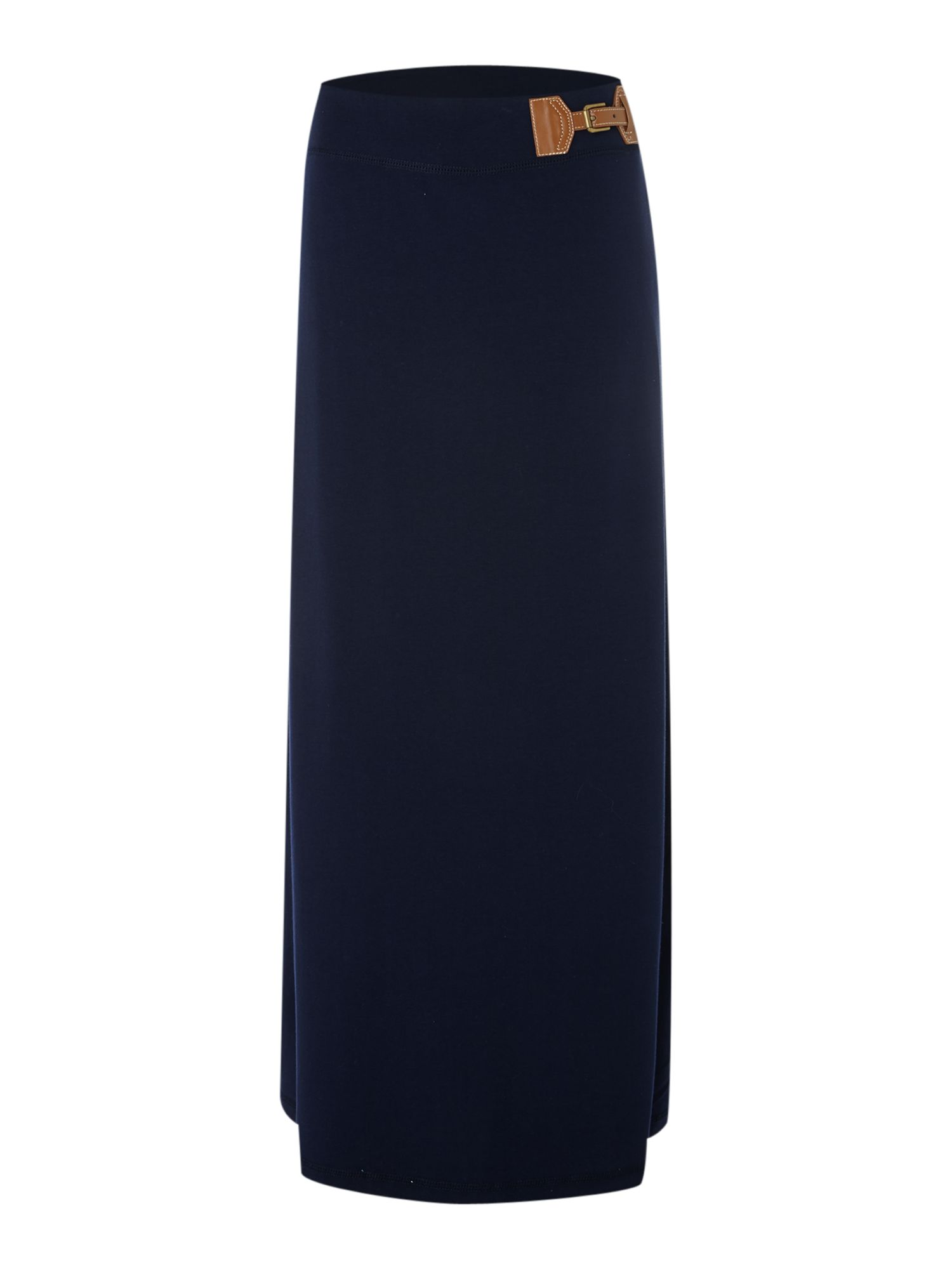 Jersey maxi skirt with buckle detail