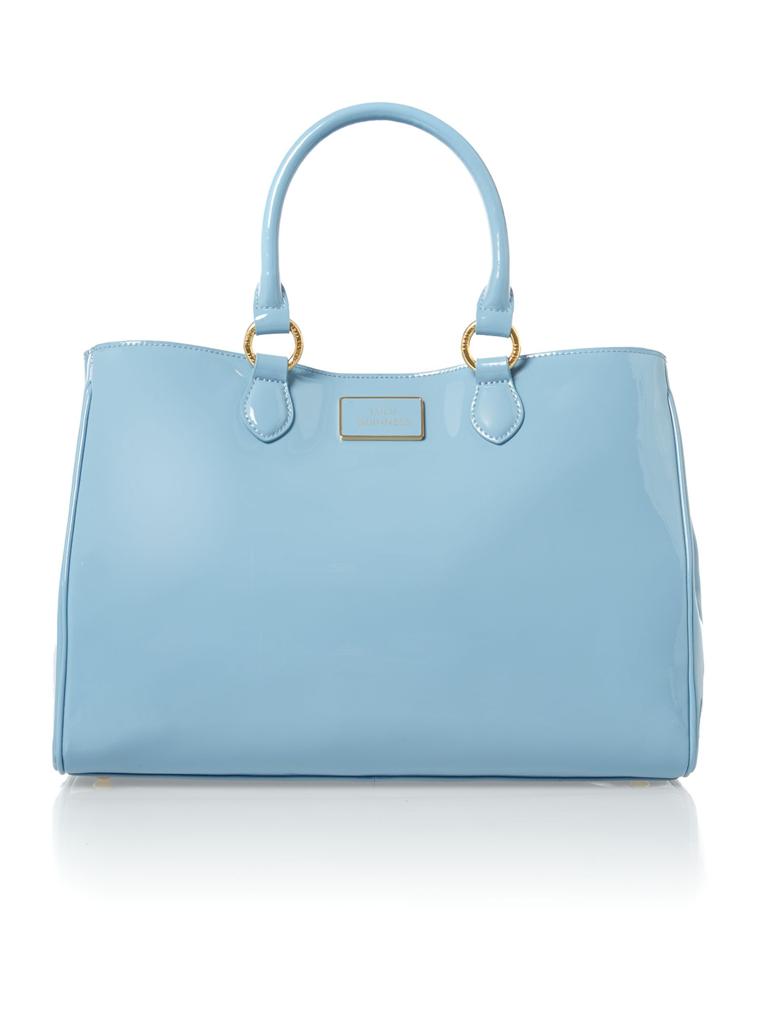 Amelia patent blue large tote bag