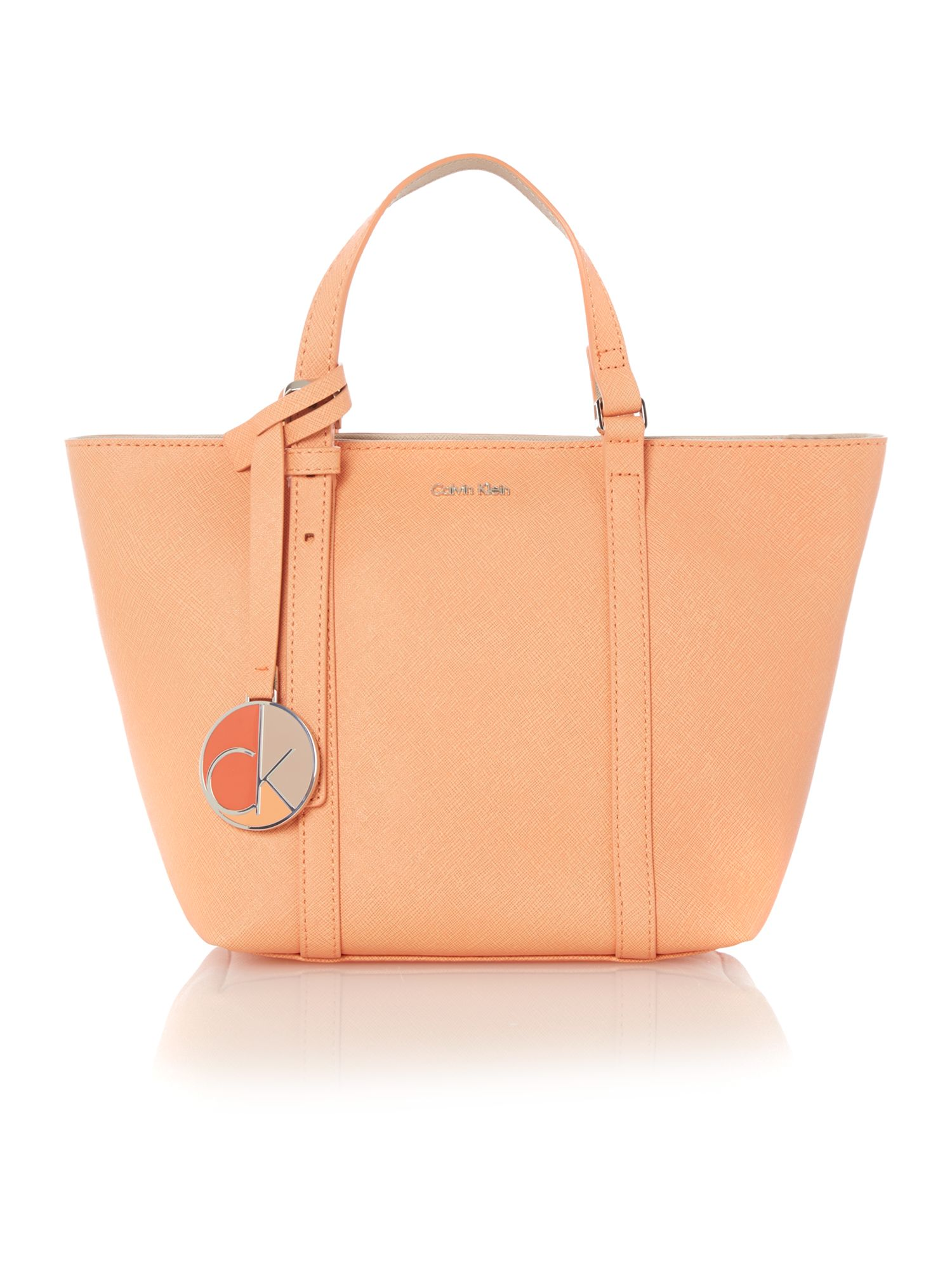 Sofie small coral tote bag