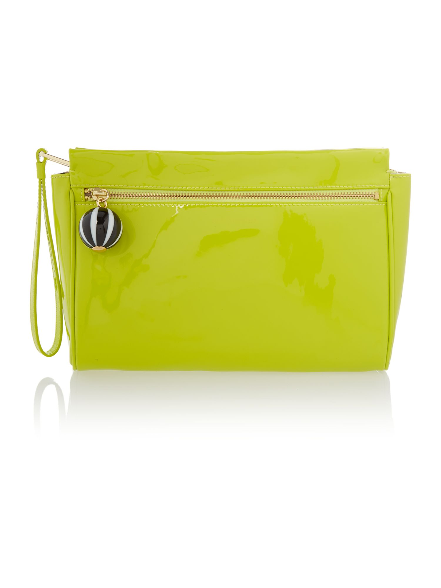 Katie patent yellow clutch bag