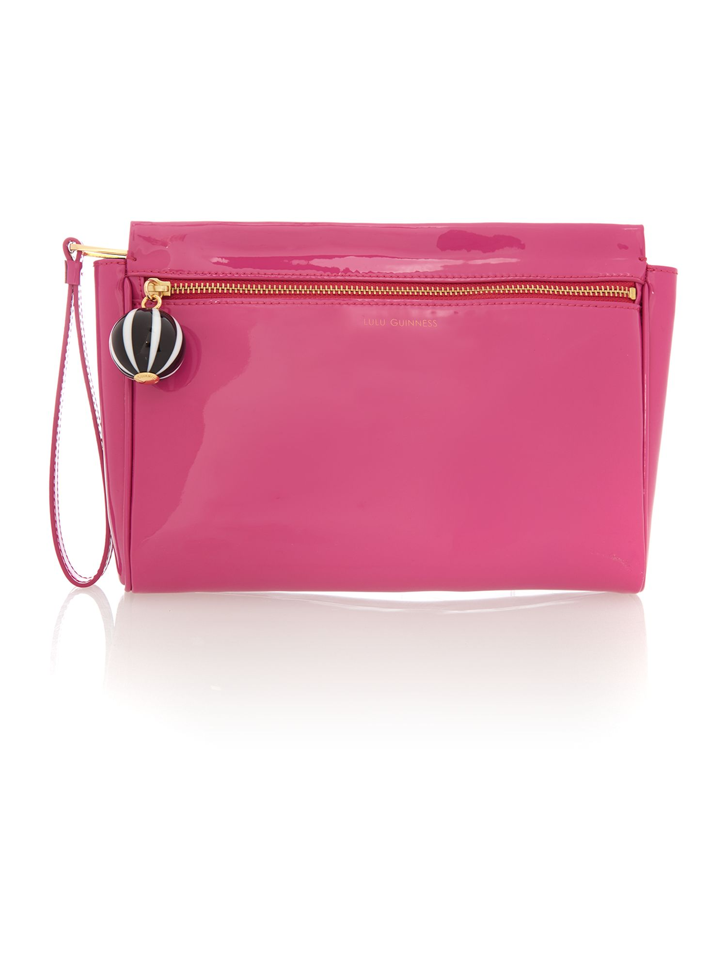 Katie patent pink clutch bag