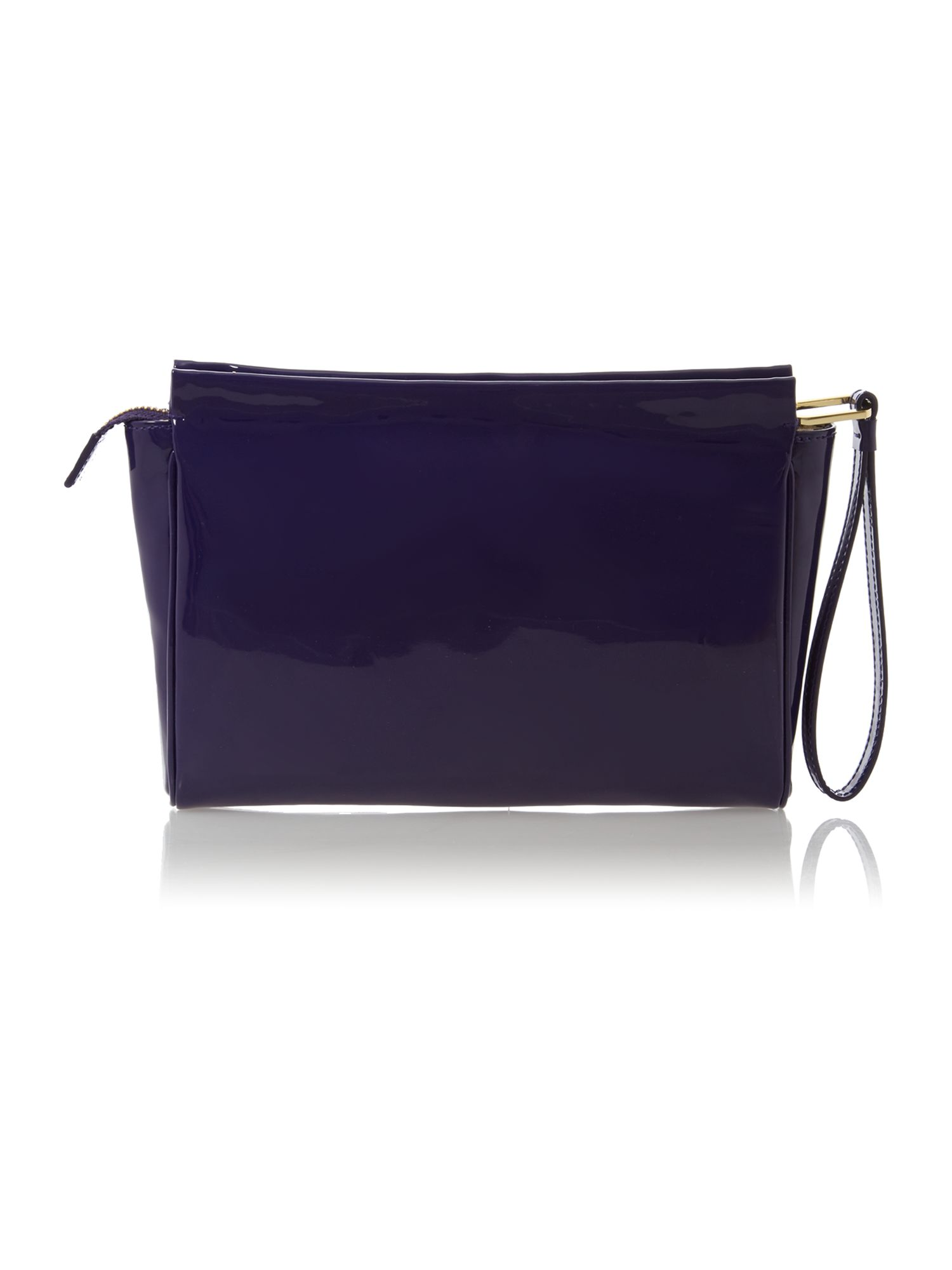Katie patent purple clutch bag