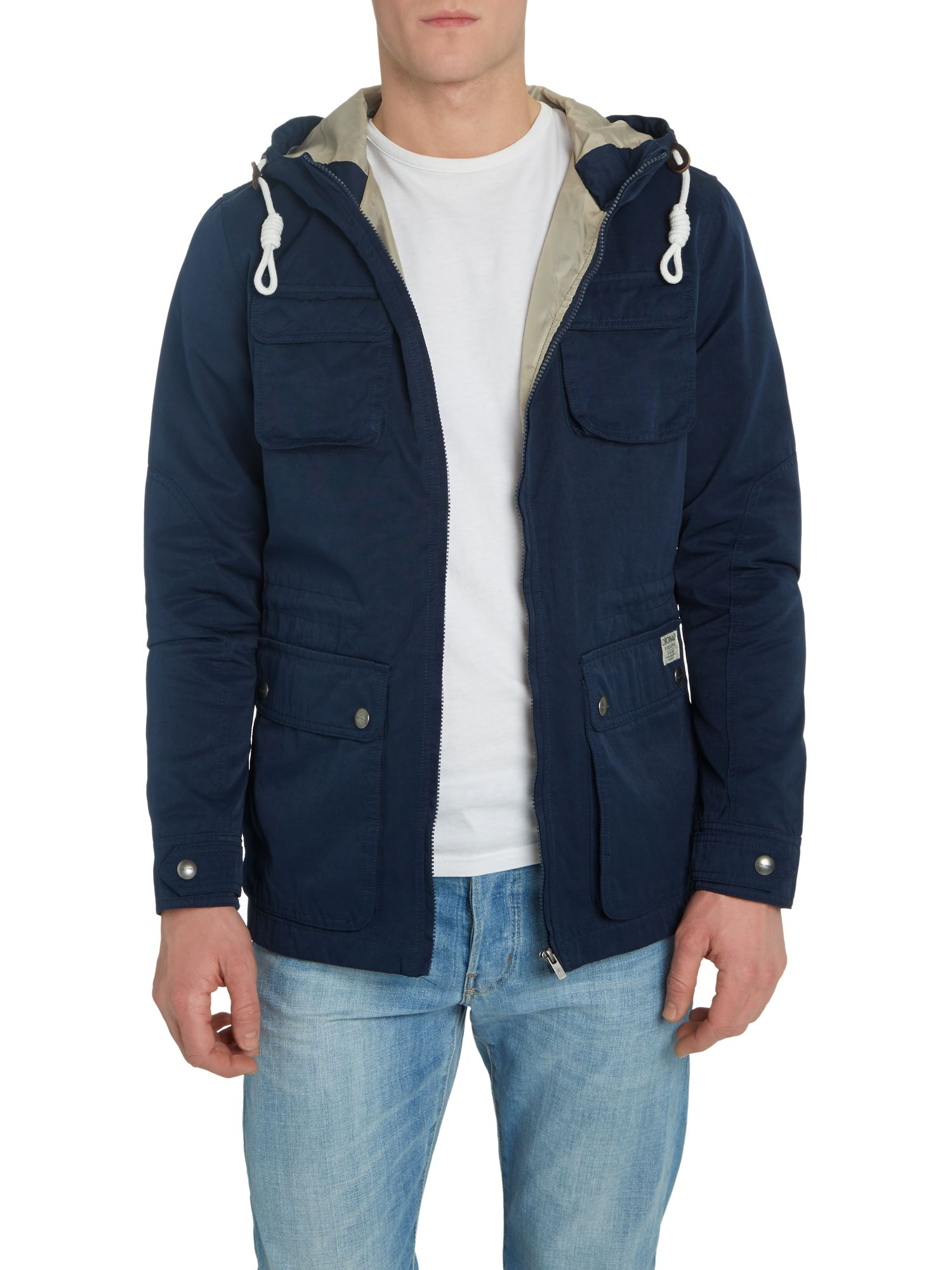 Multi pocket hooded utility jacket