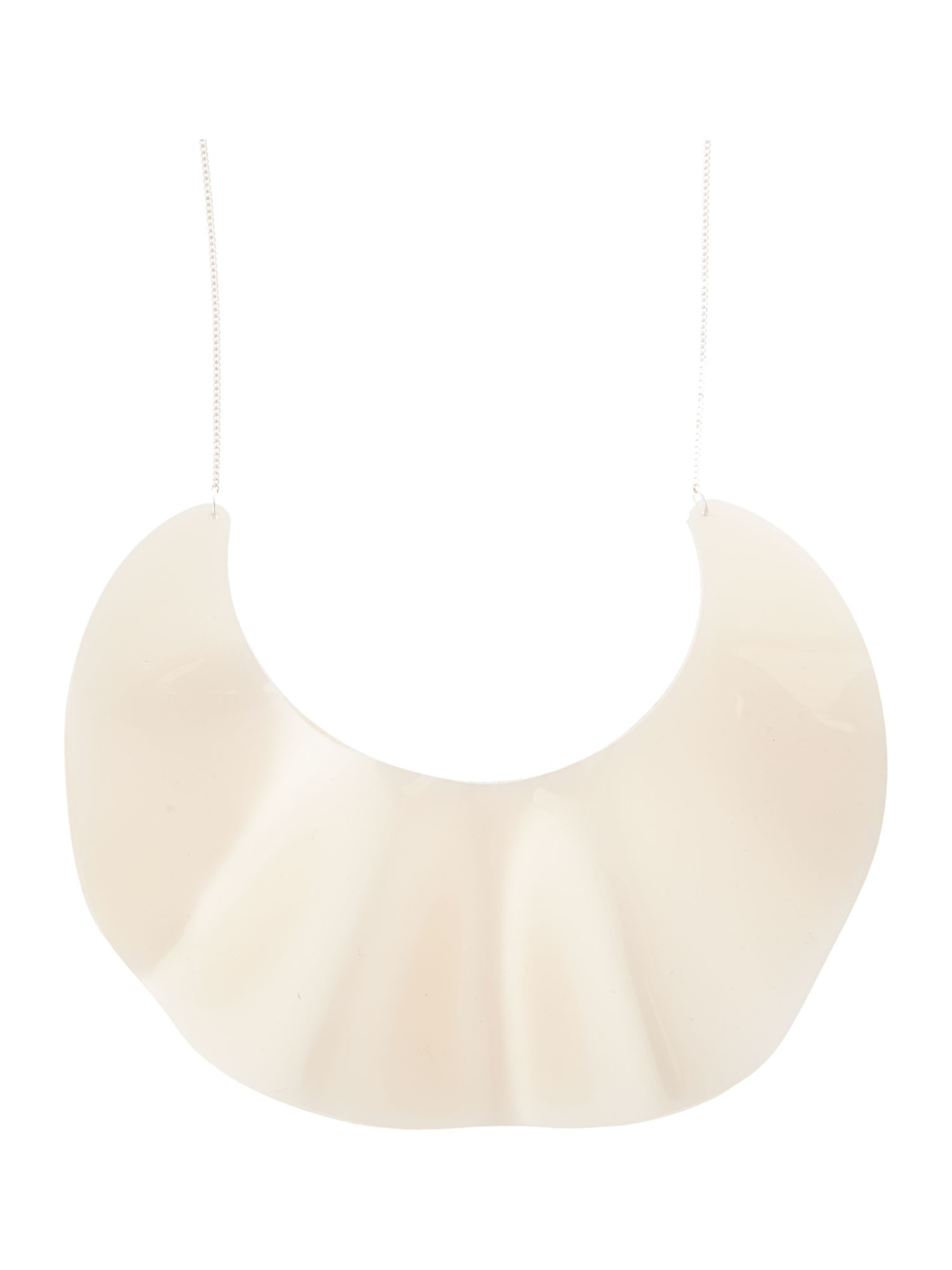 Ruffle necklace white pearl