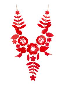 Mexican embroidery necklace red