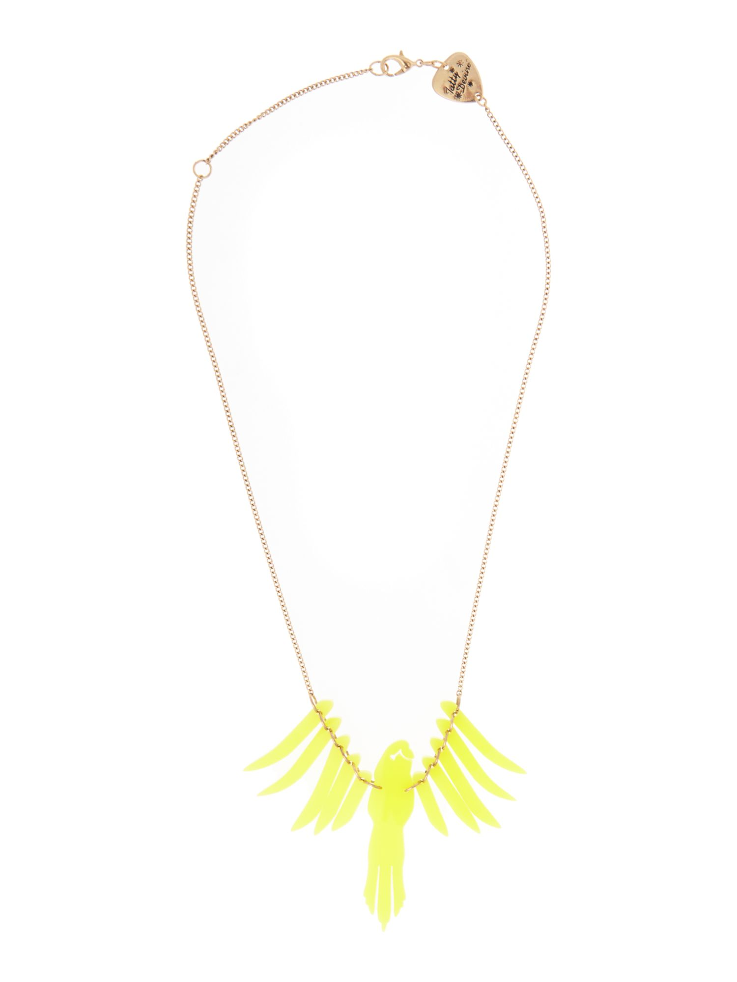 Parakeet smaller scale necklace chartreuse