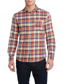 Curved Hem Long Sleeve Check Shirt