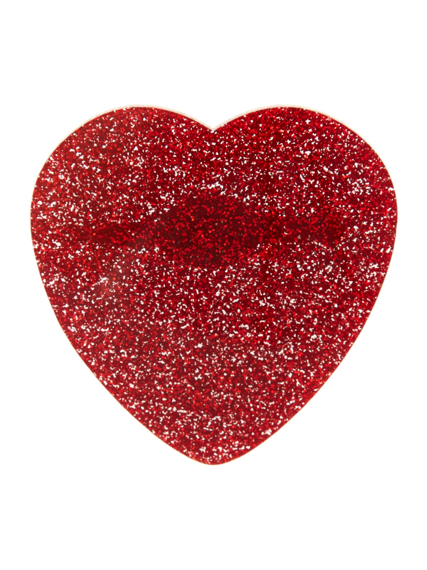 Red glitter heart brooch