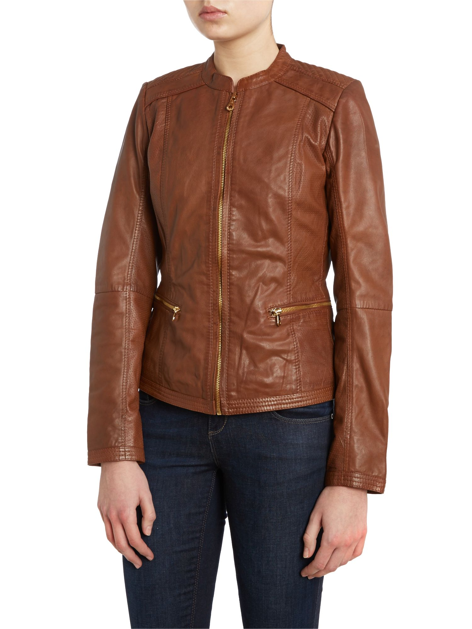 Leather collarless jacket