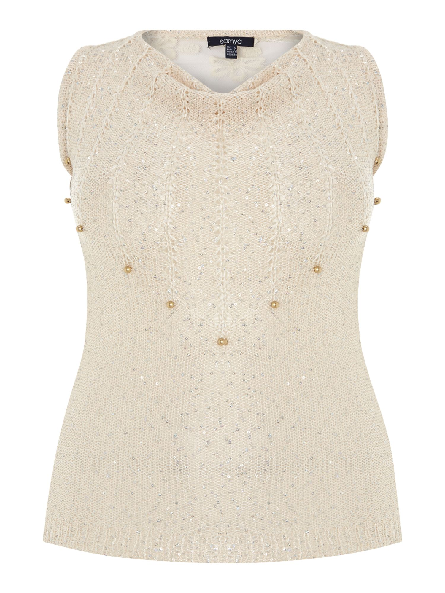 Sequin & pearls tank jumper top