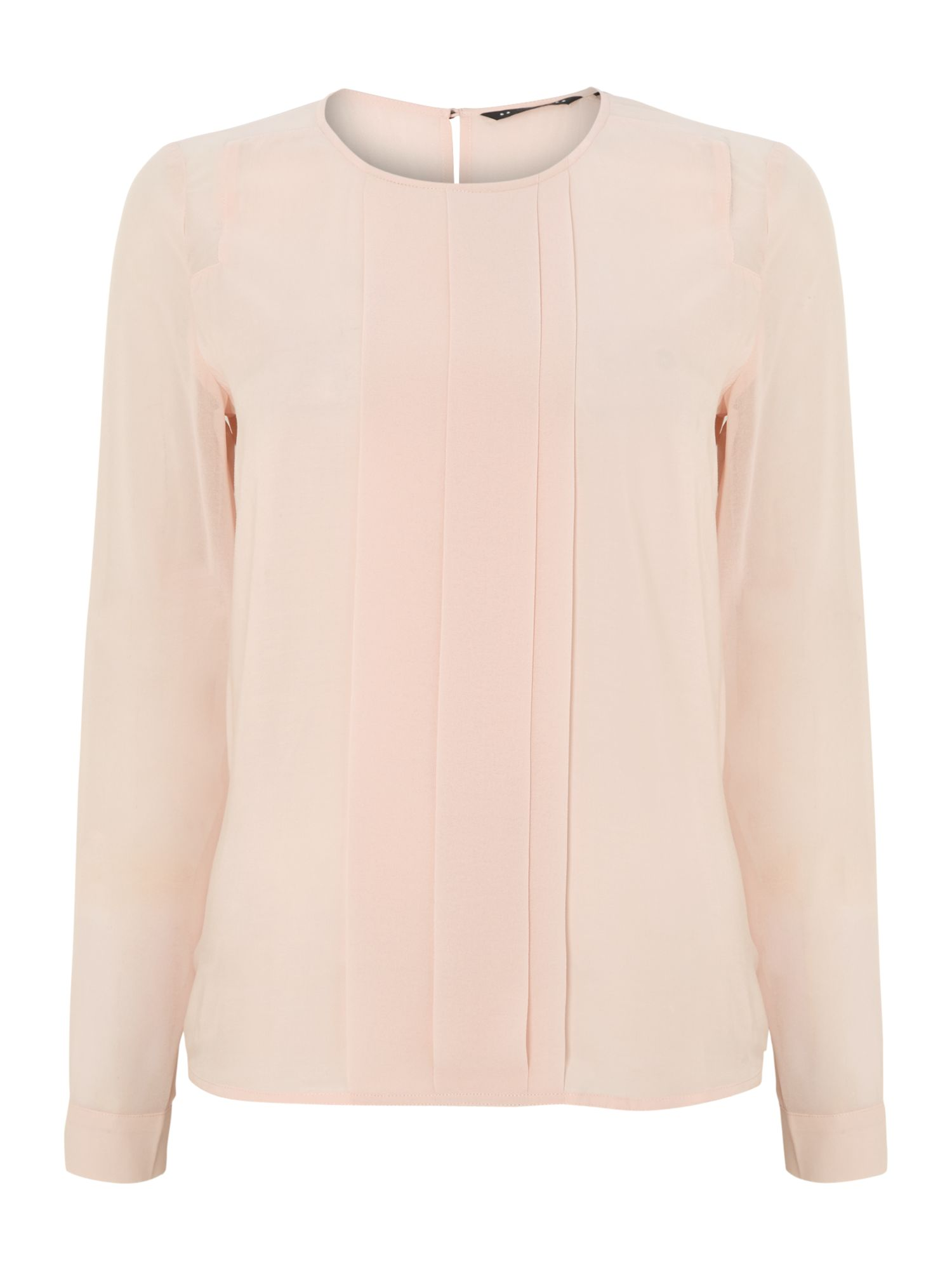 Long sleeve blouse with pleat panel in blush