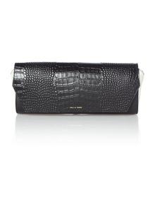 Leather Zodiac flap over clutch bag
