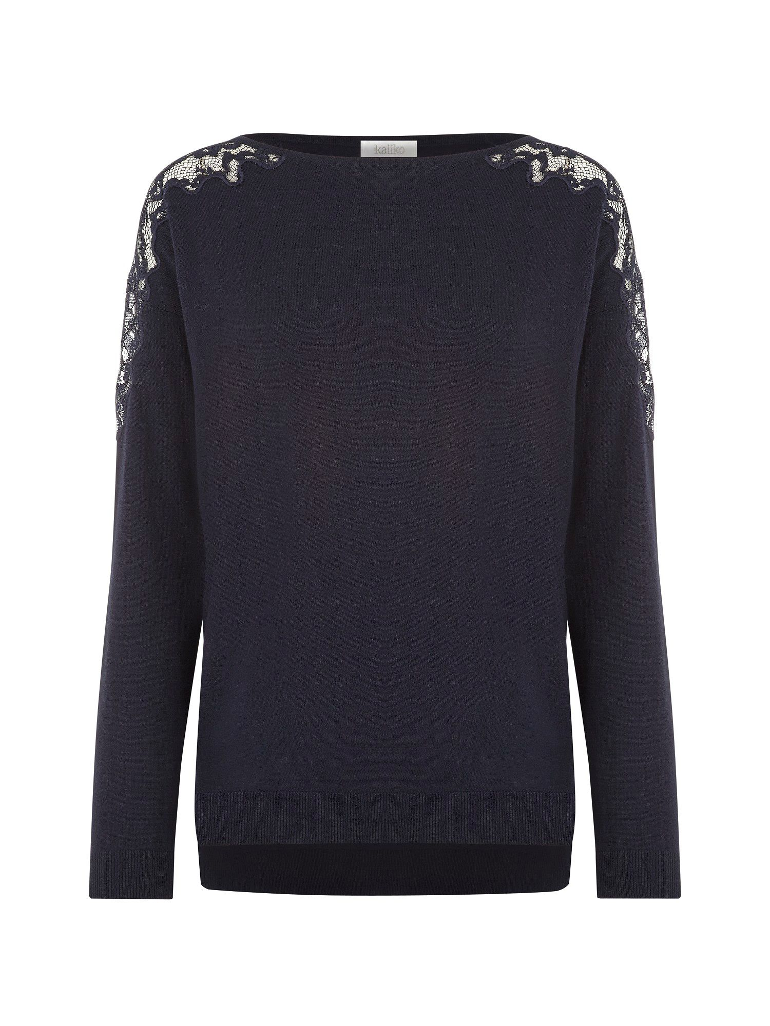 Navy lace shoulder jumper