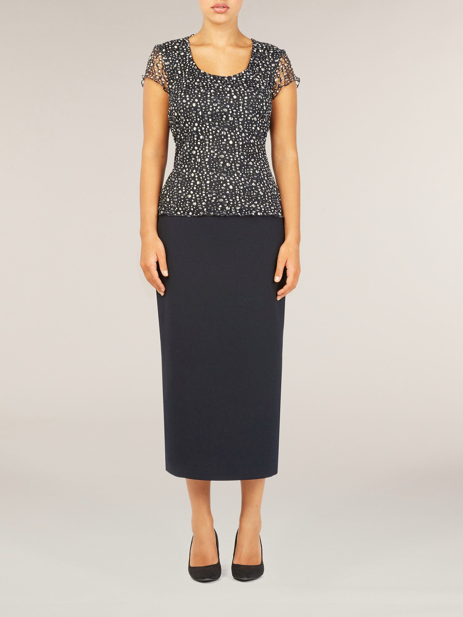 Navy textured pencil skirt