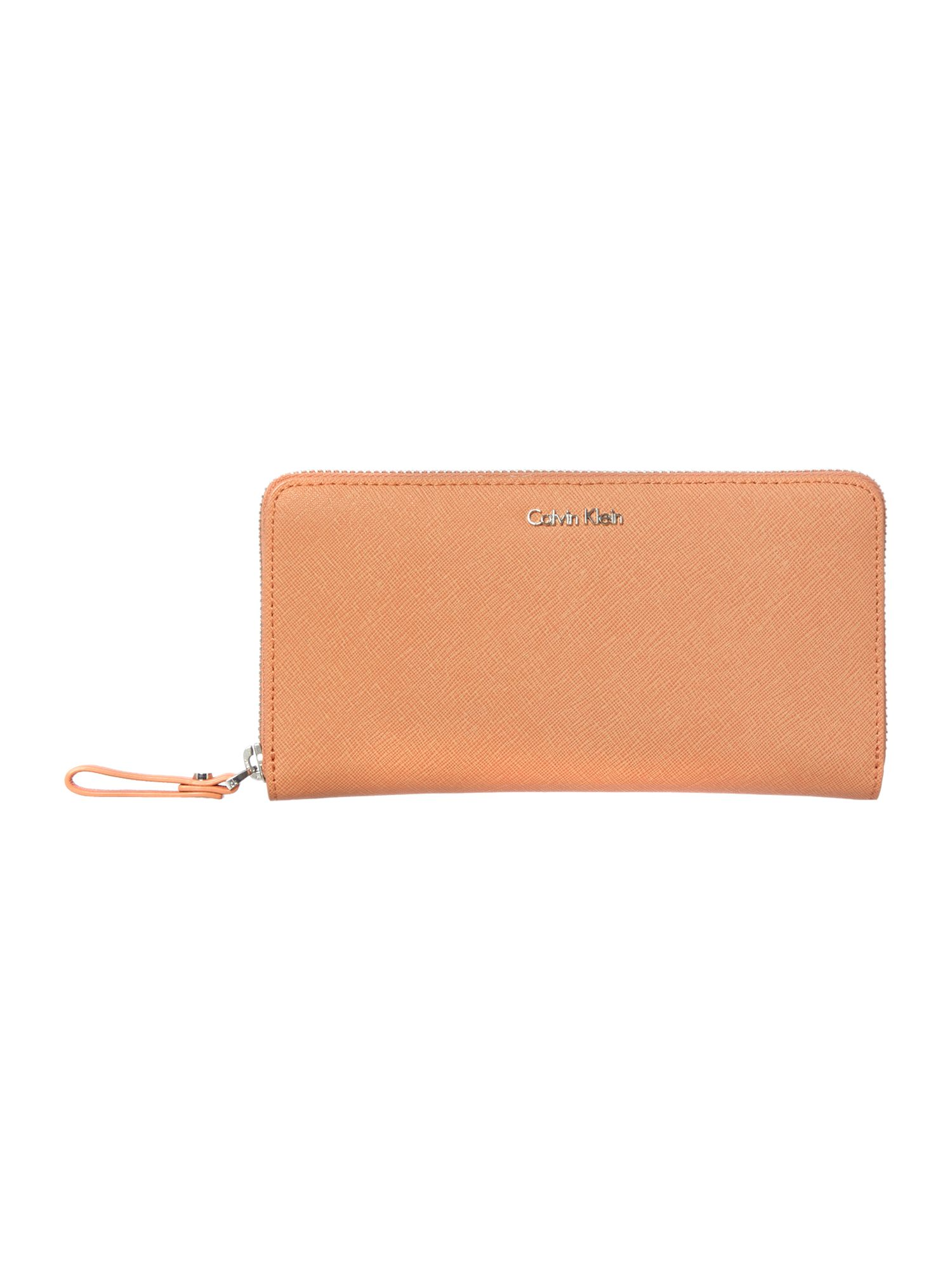 Coral zip around purse