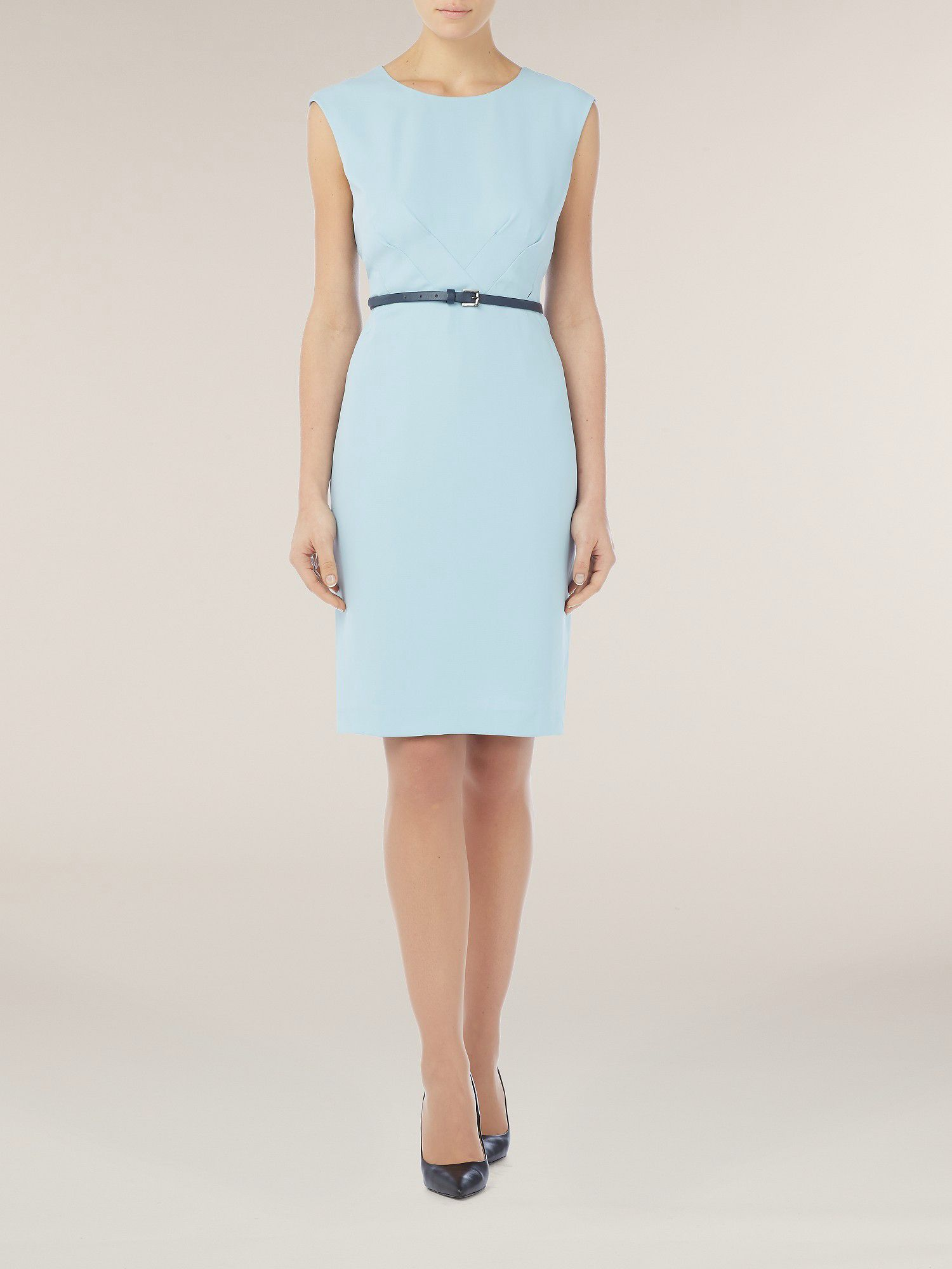 Ice blue shift dress