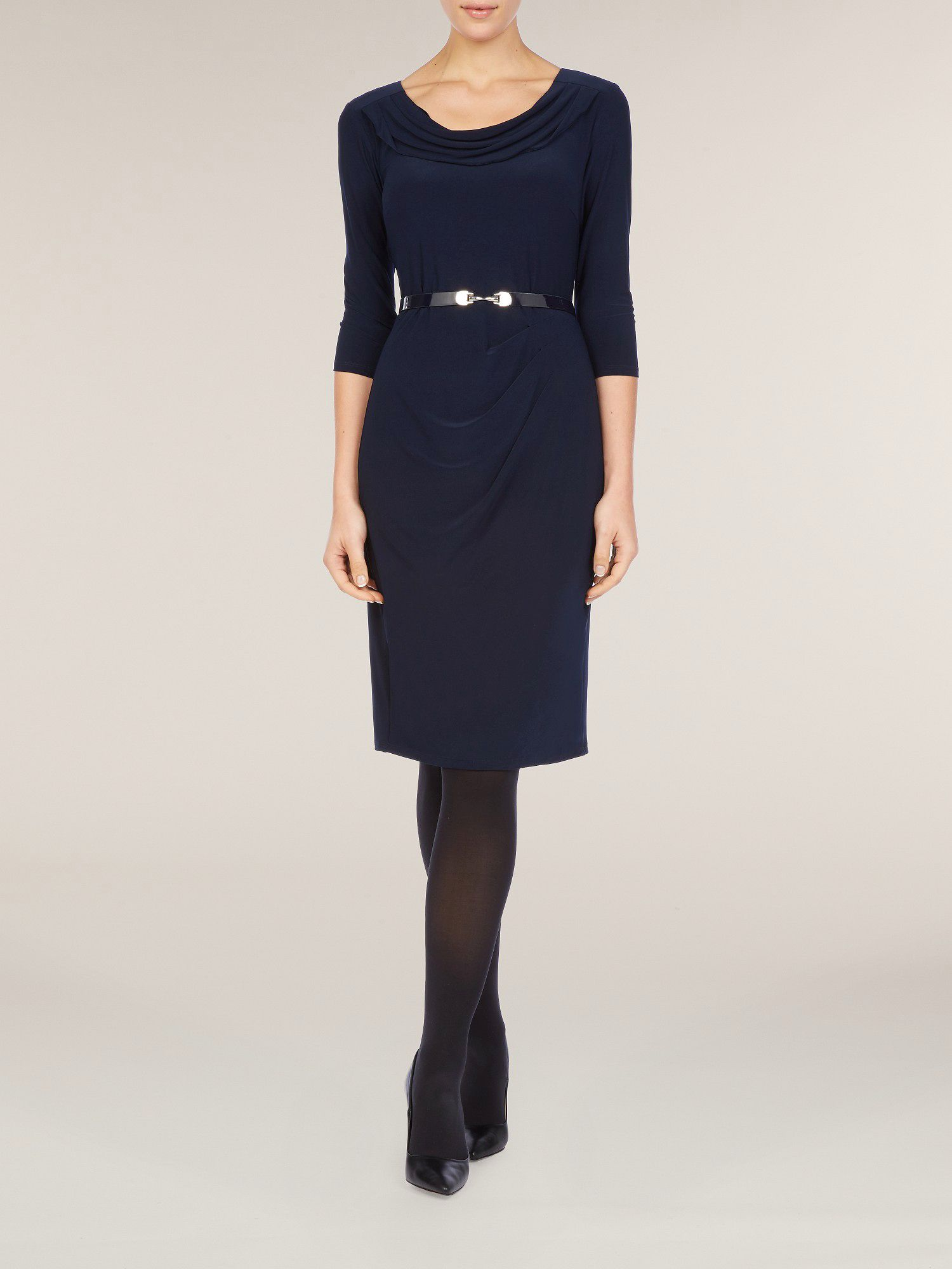 Navy cropped sleeve jersey dress