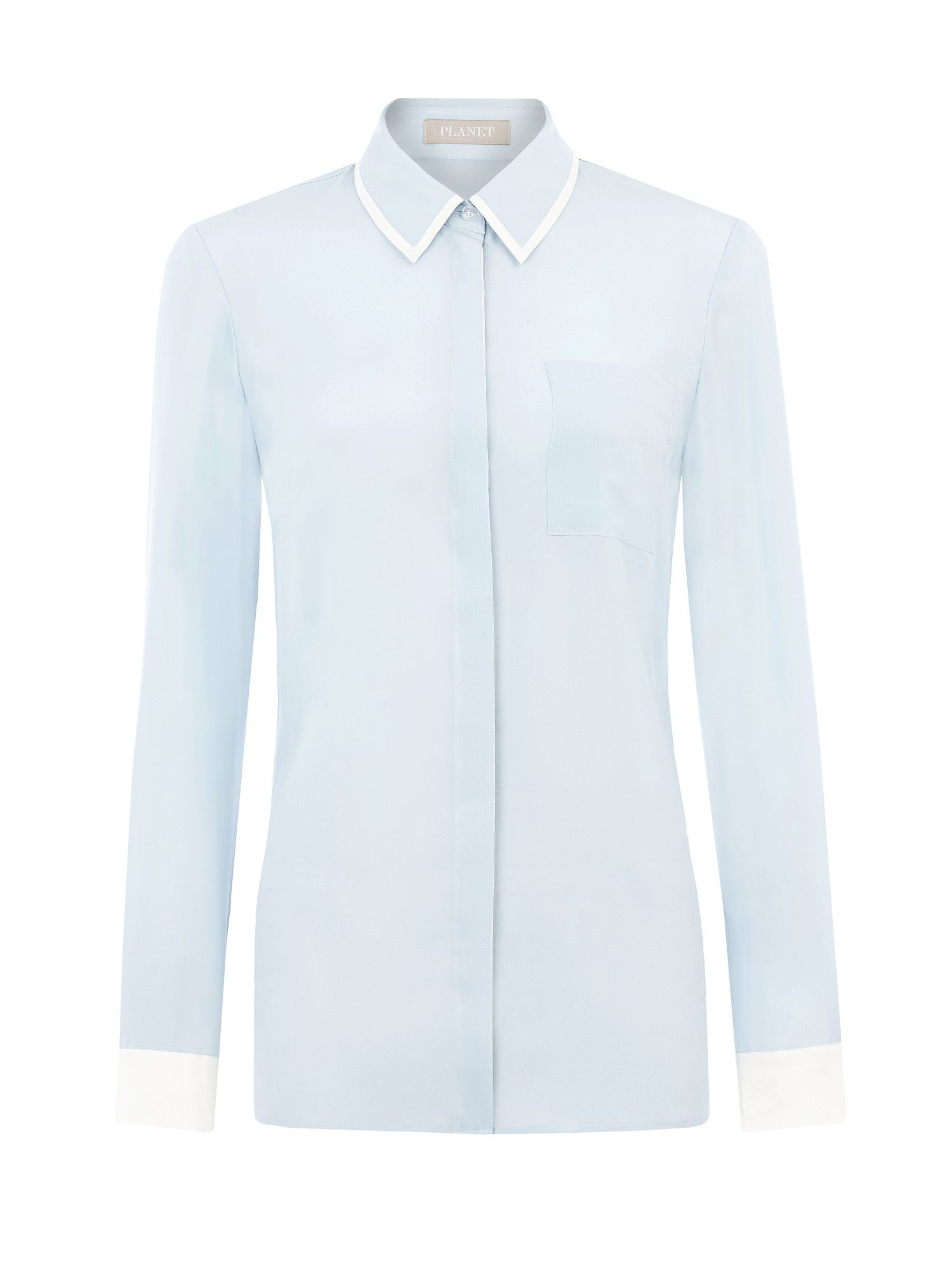 Ice blue contrast blouse