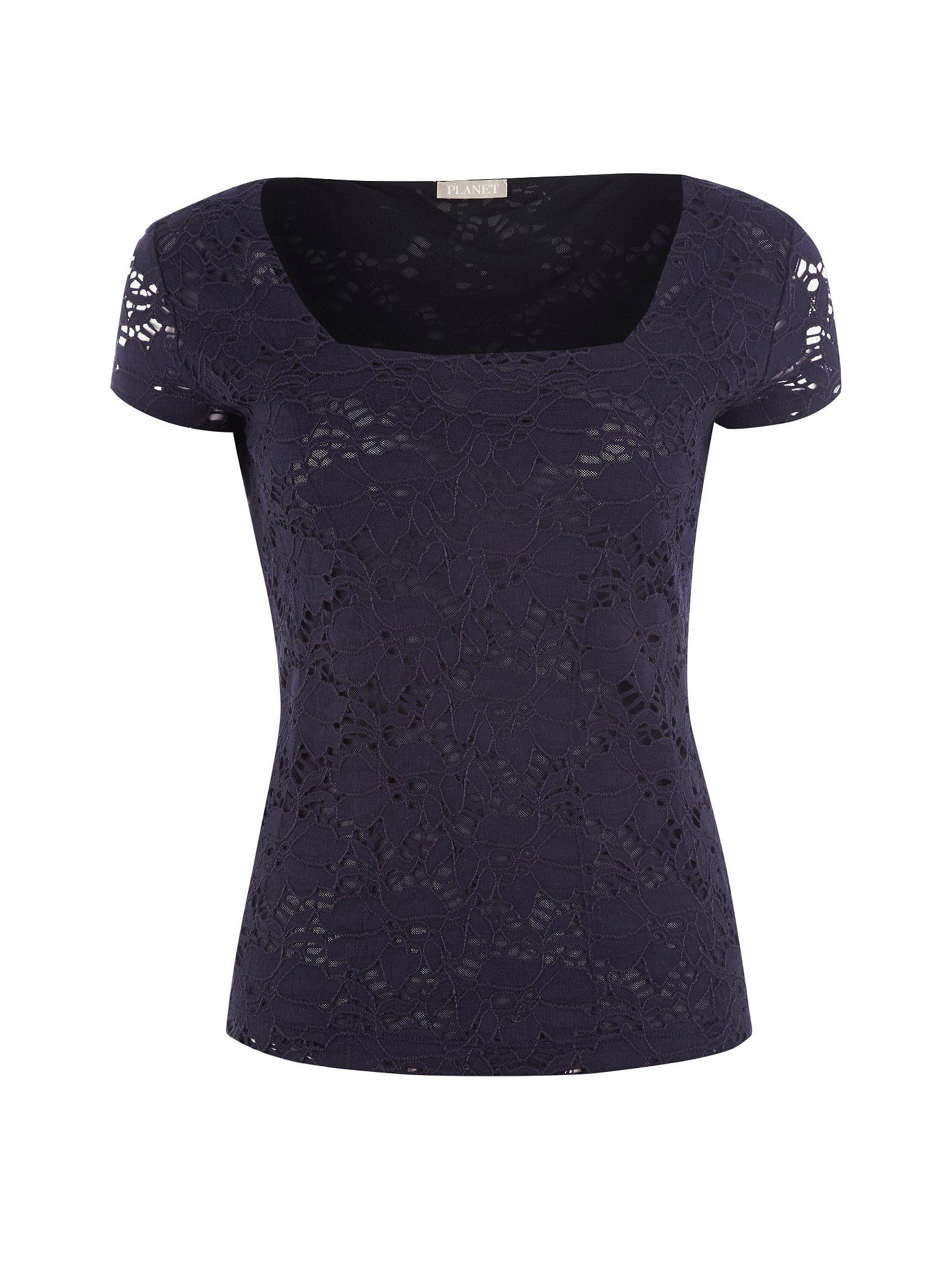 Navy lace jersey top