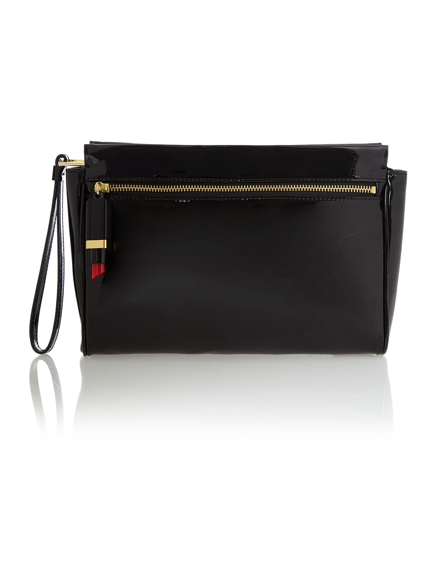 Katie patent black clutch bag