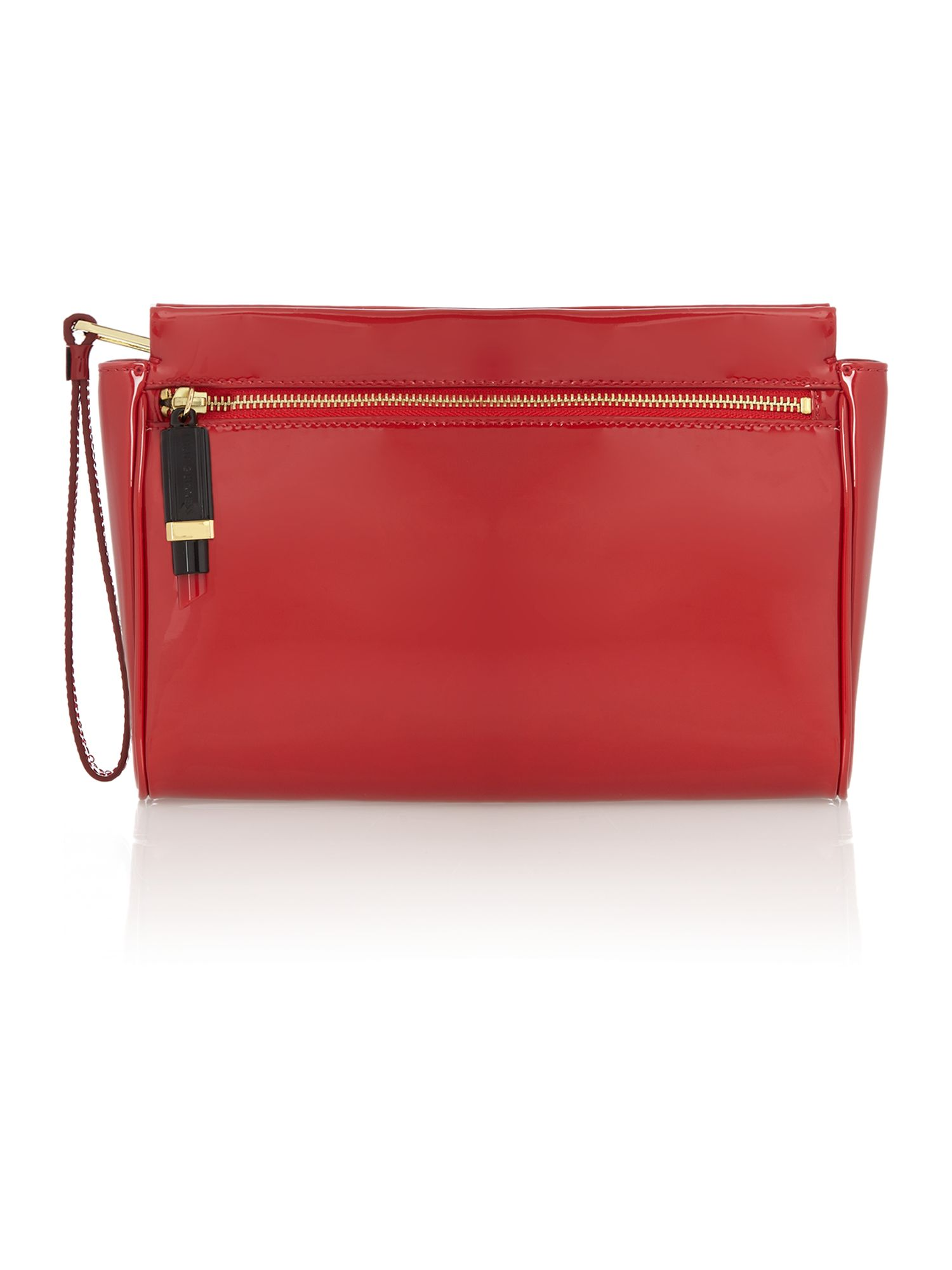 Katie patent red clutch bag