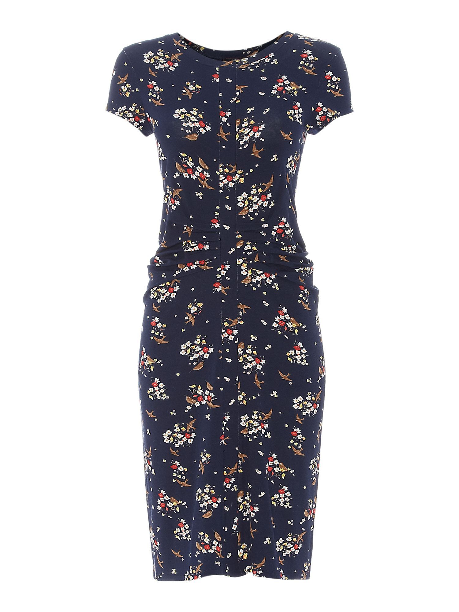 Ditsy bird print jersey dress