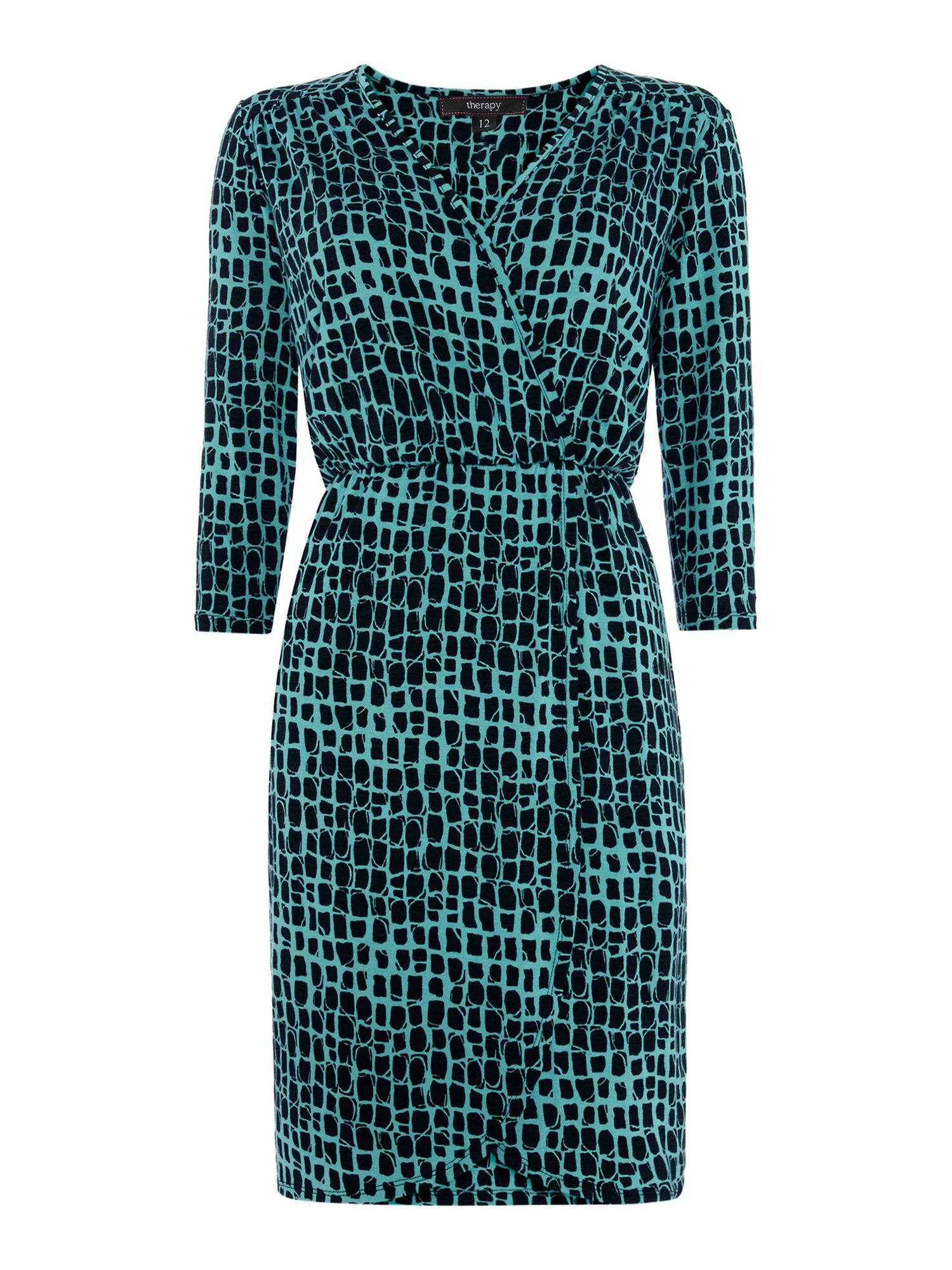 Square print jersey wrap dress