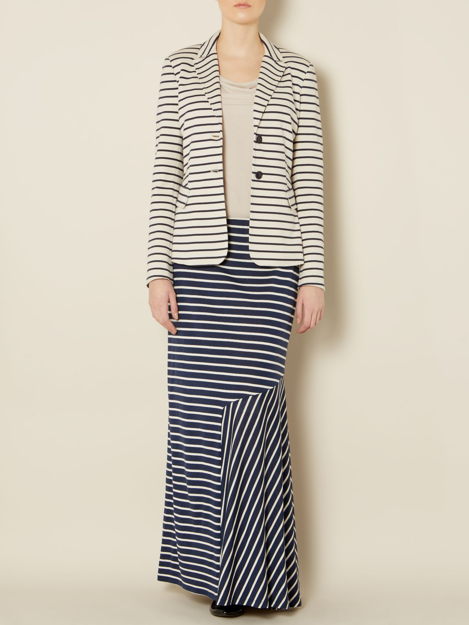 Rachele jersey striped silk maxi skirt