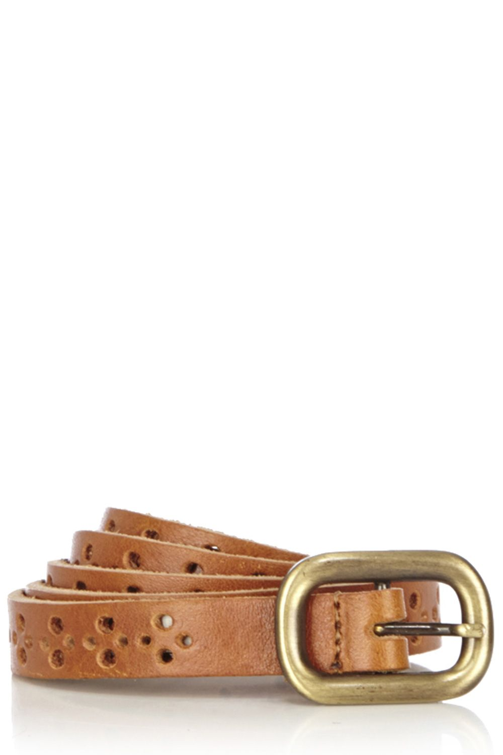 Cut out leather jeans belt