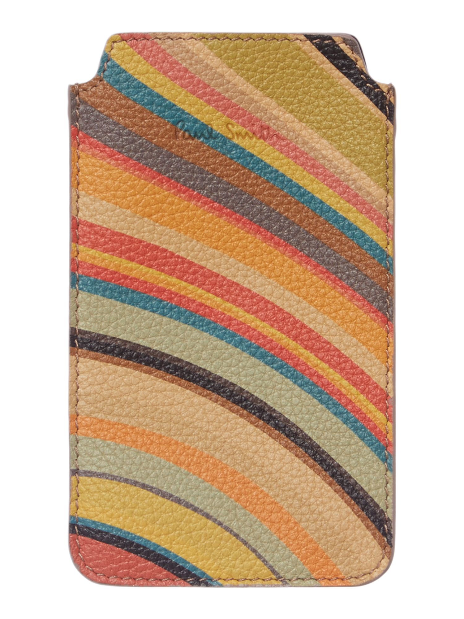 Multi coloured swirl leather phone pouch
