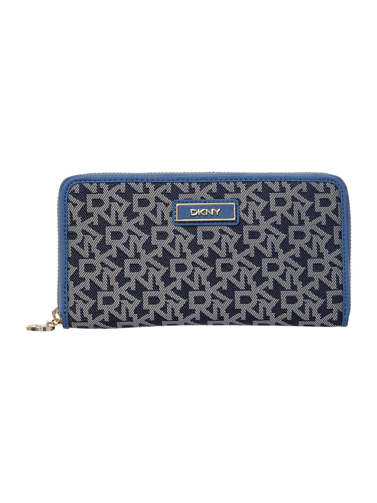 Saffiano blue large zip around purse