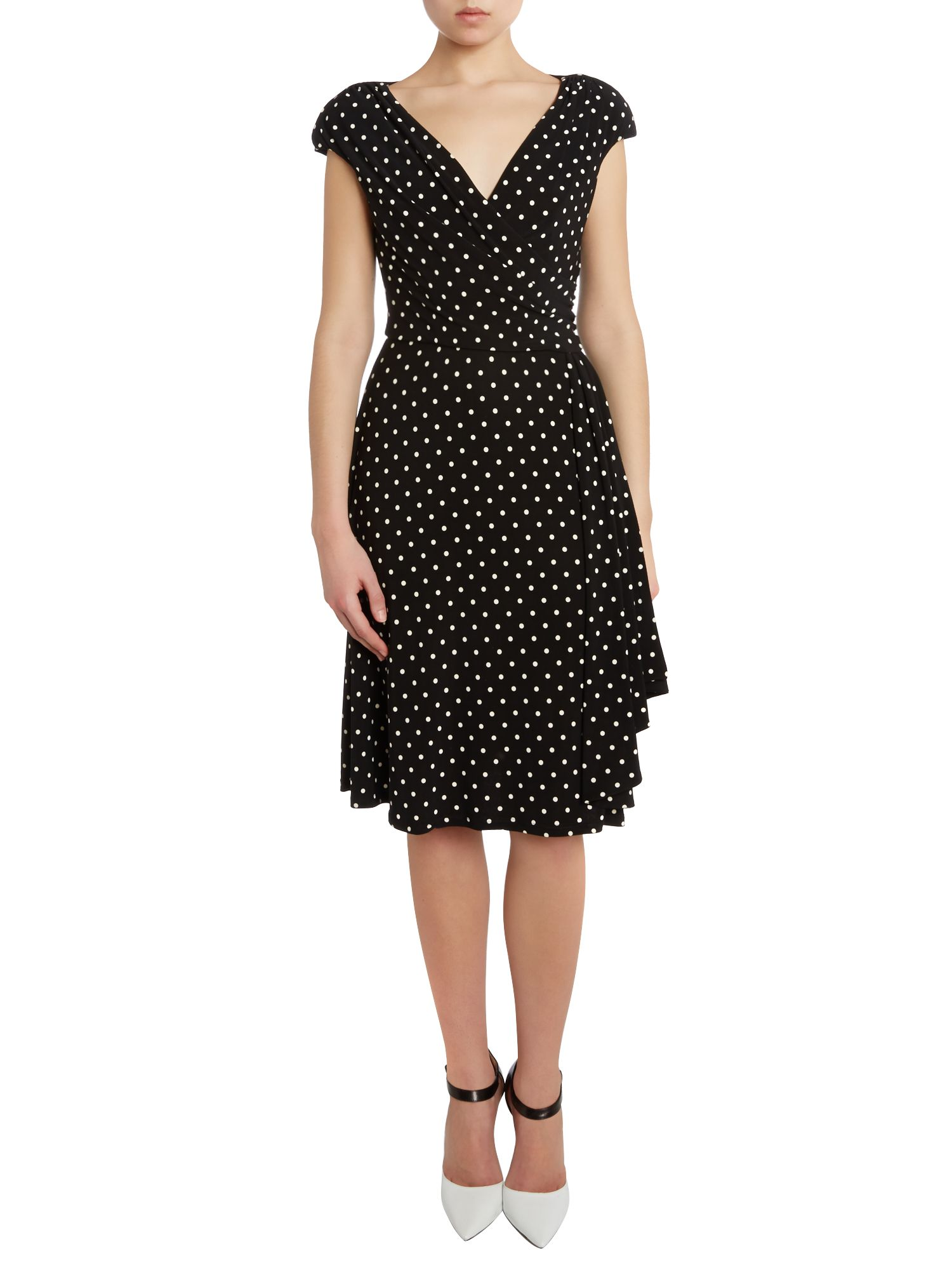 Polka dot cap sleeved dress with ruffle