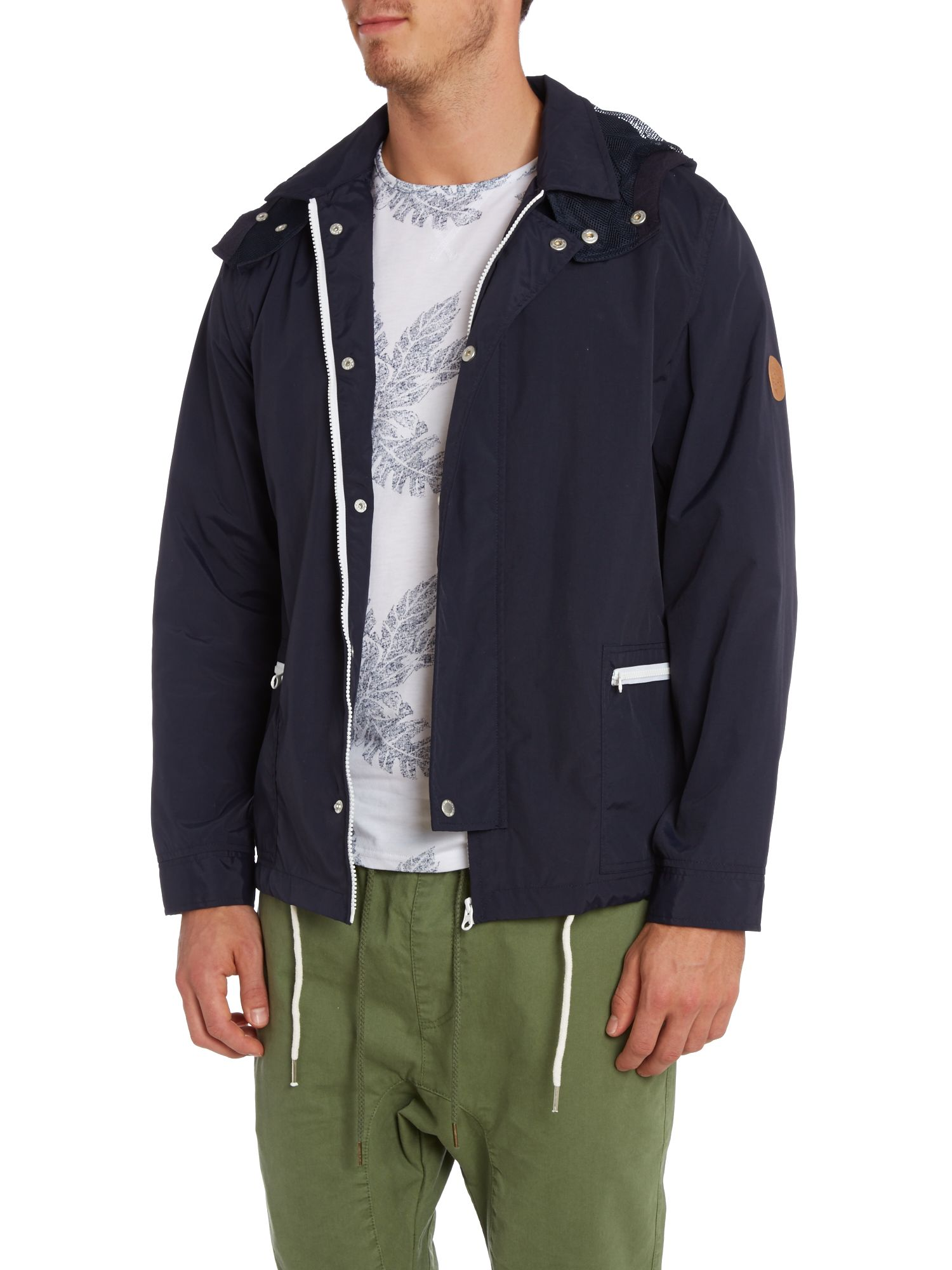 Hooded two pocket nylon windbreaker jacket
