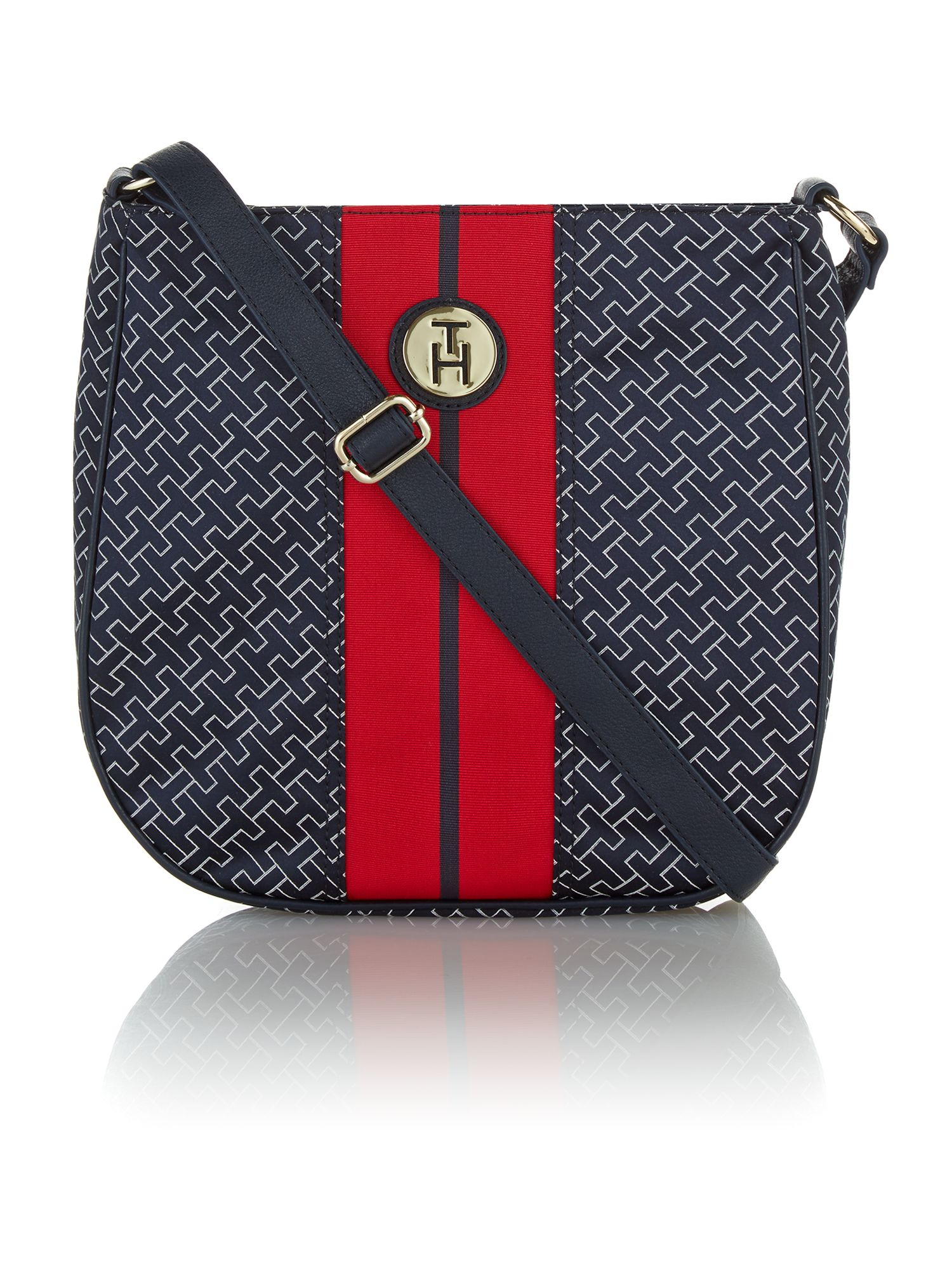 Navy print cross body bag