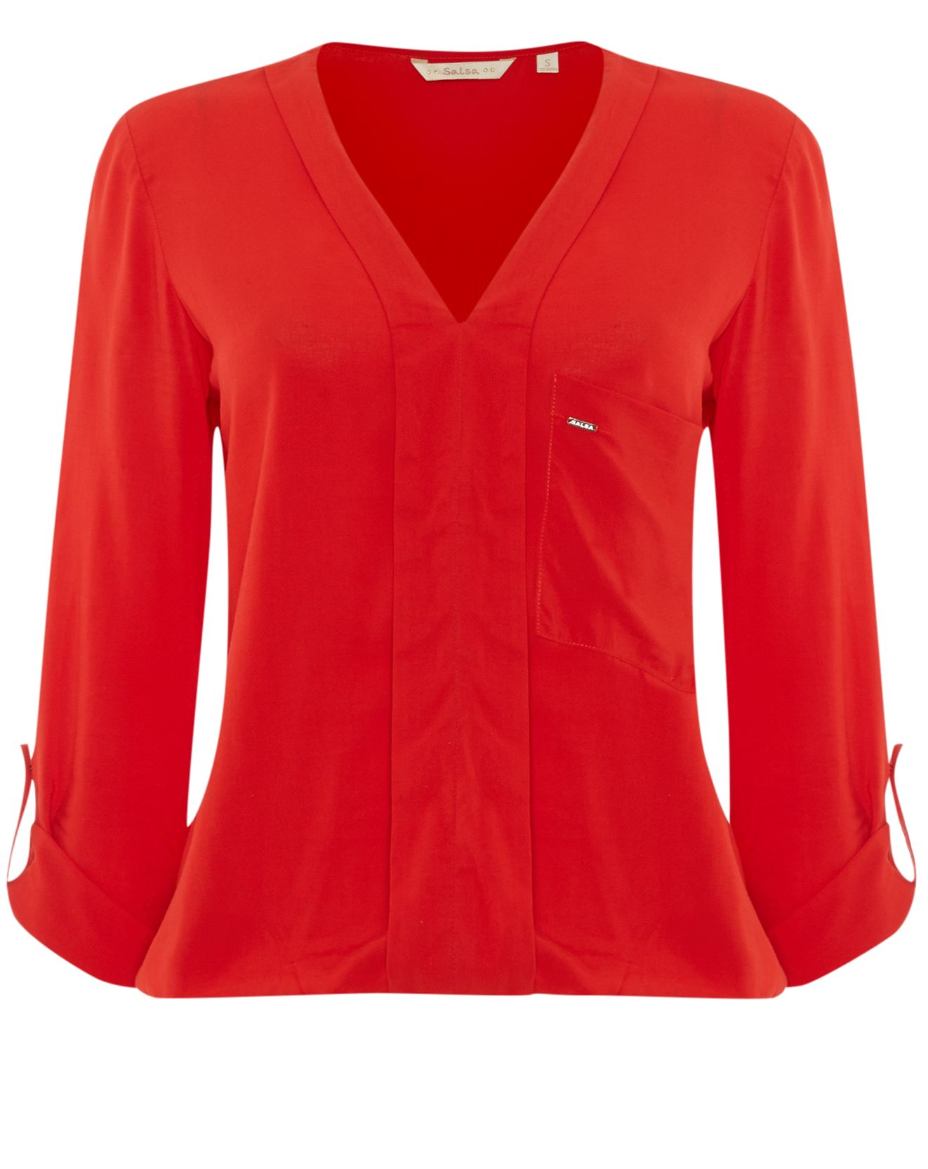 V-neck blouse with rolled up sleeves