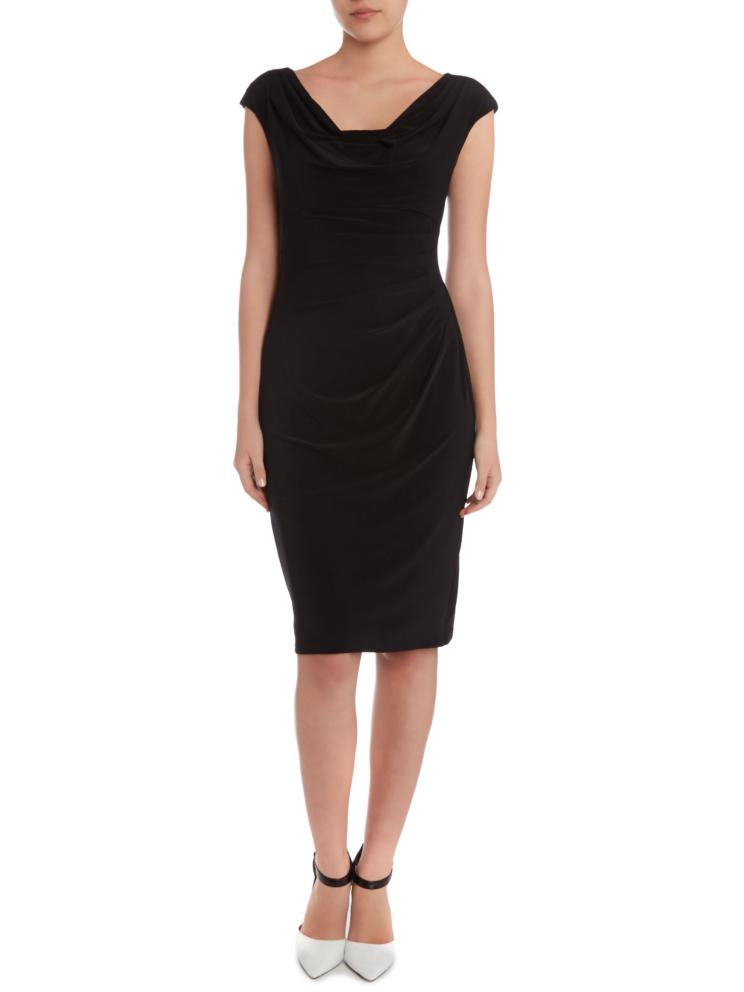 Cowl neck dress with cap sleeve