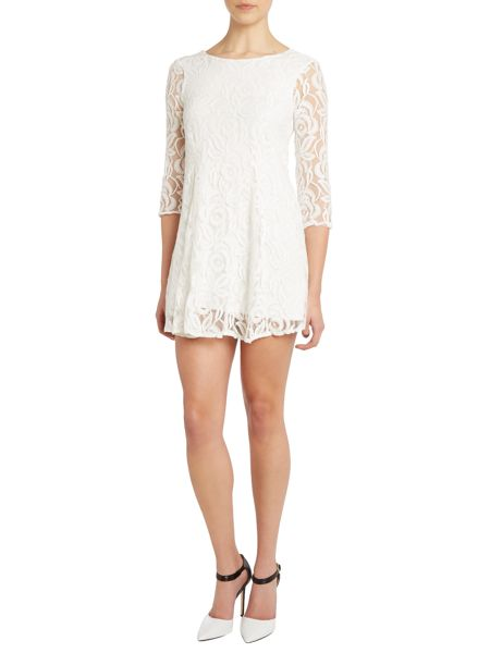 John Zack Long sleeved lace fit and flare dress