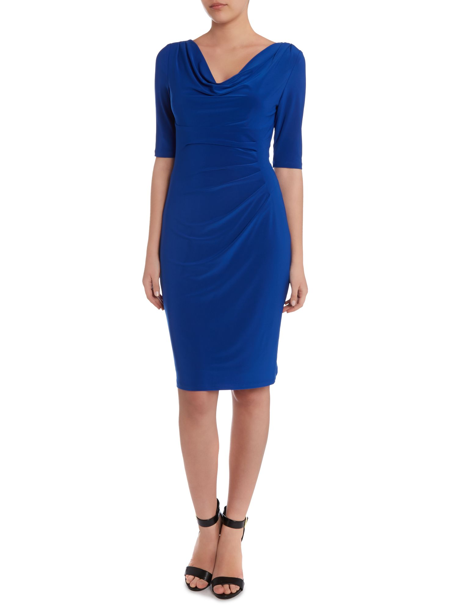 Cowl neck dress with drop waist