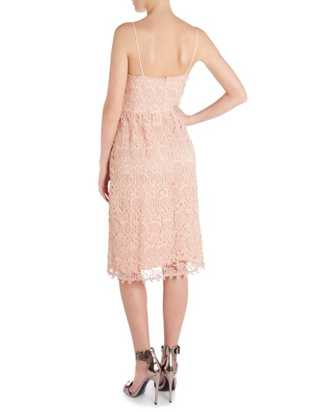 John Zack Strappy lace midi dress