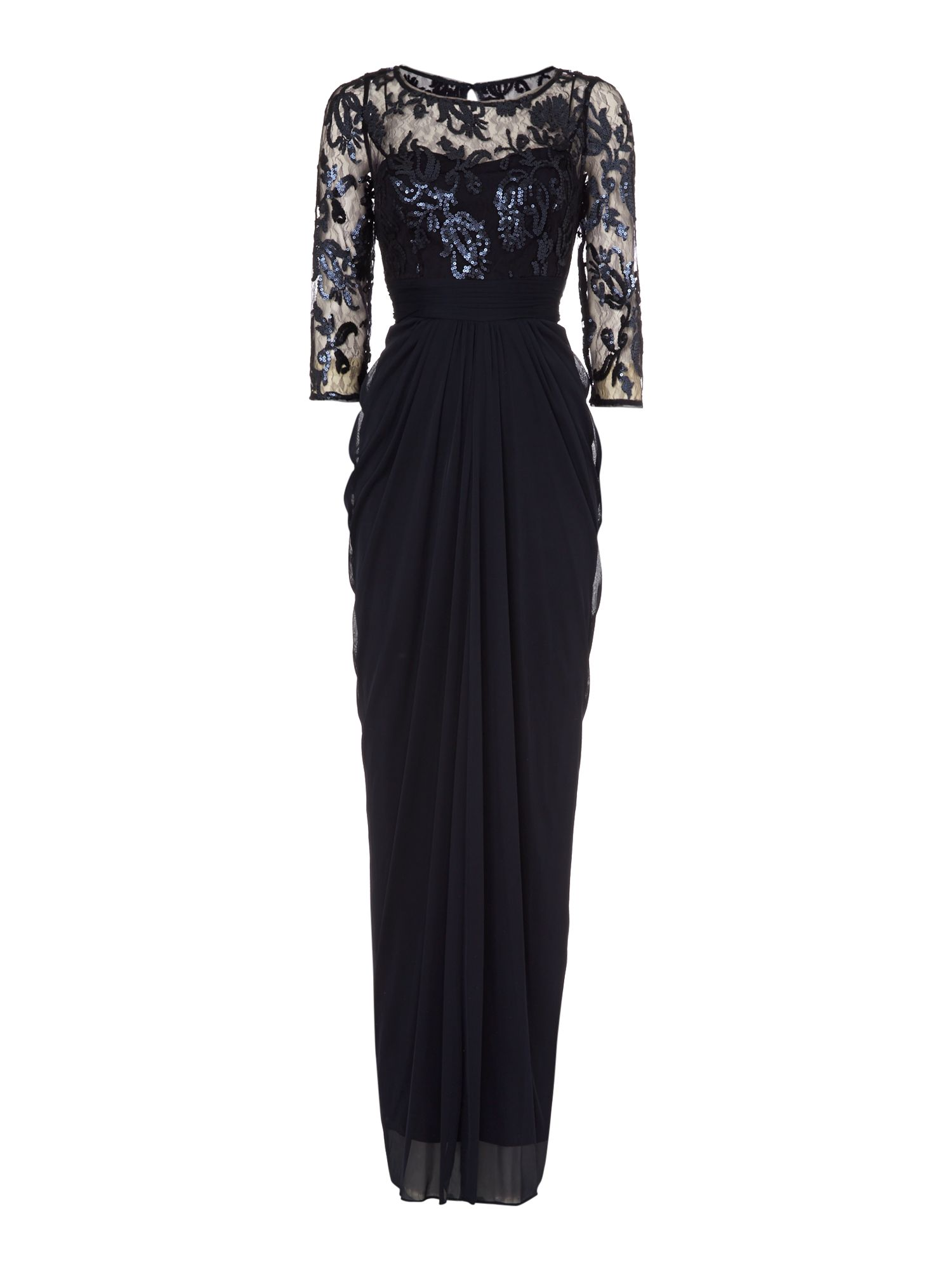 Long sleeve embroidered bodice dress