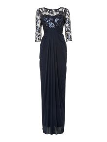 Adrianna Papell Long sleeve embroidered bodice dress