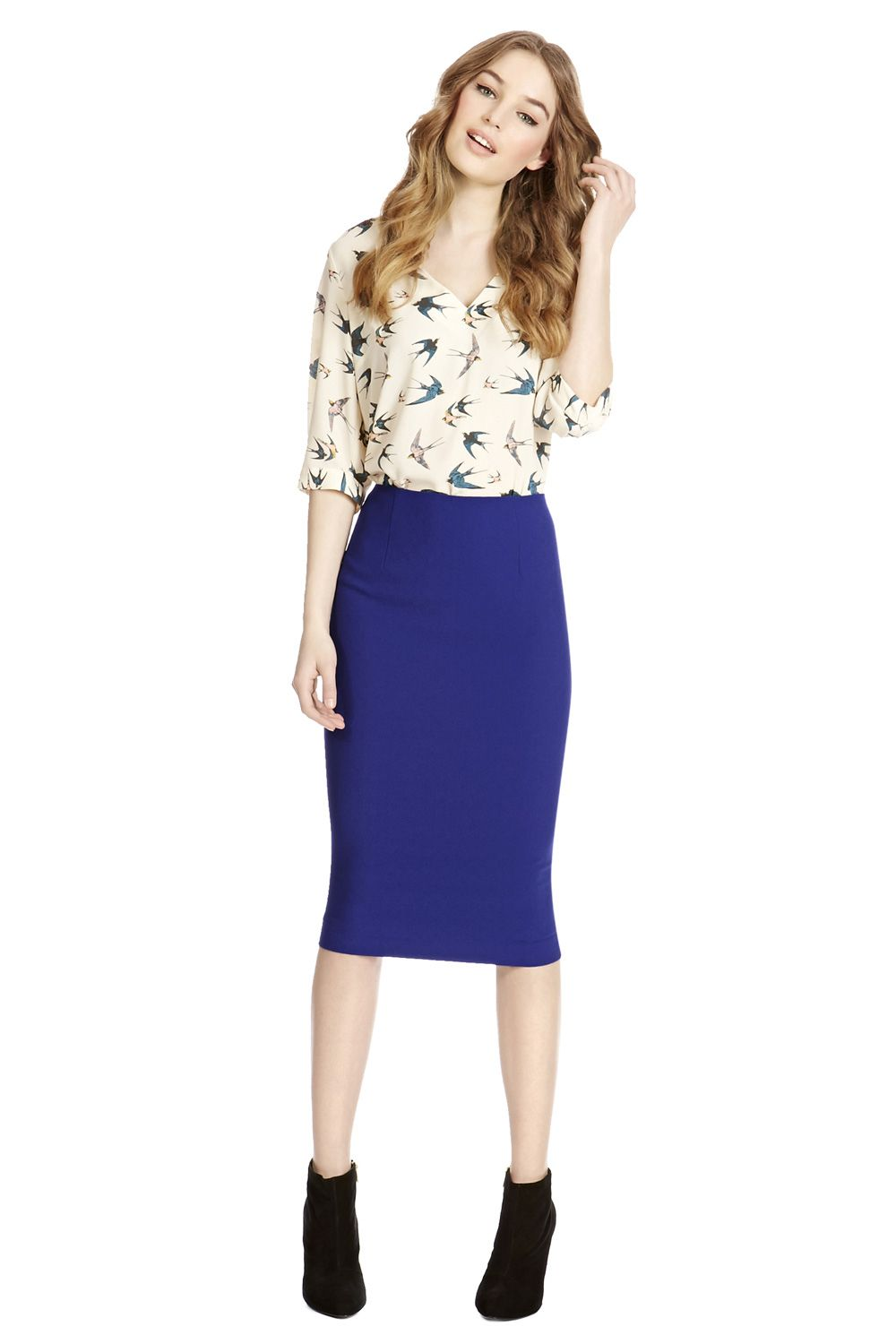 Texture crepe pencil skirt