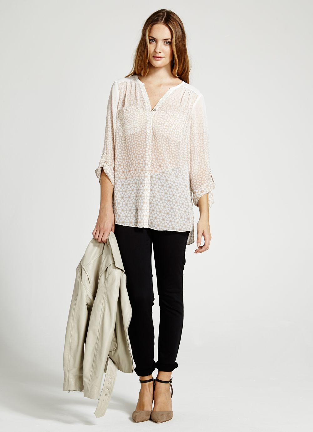 Carli Print Wrap Back Blouse