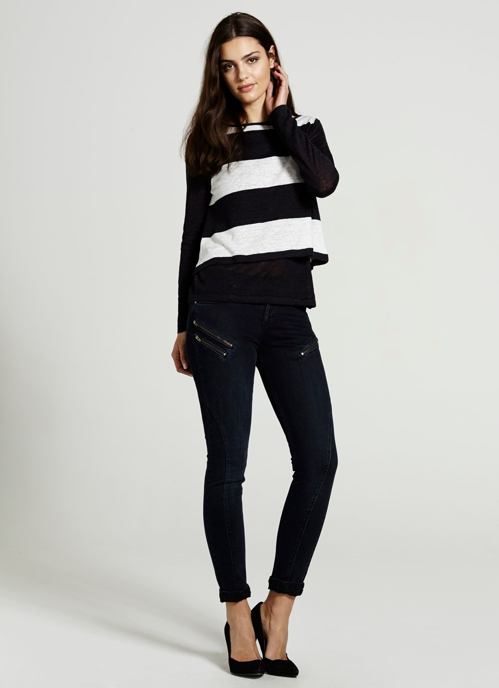 Navy & Ivory Layered Knit