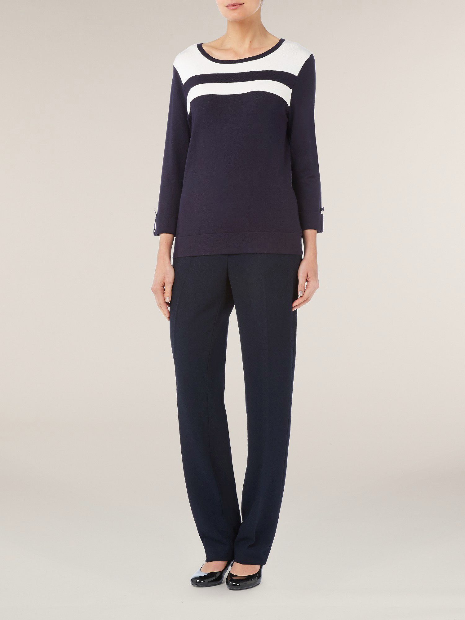 Navy & ivory contrast sweater